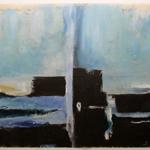 Künstlerin Susanne Meister: Tür zum Himmel Acryl Zeitung 70 x 100